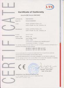 CE сертификат Hygea Air Car Purifier