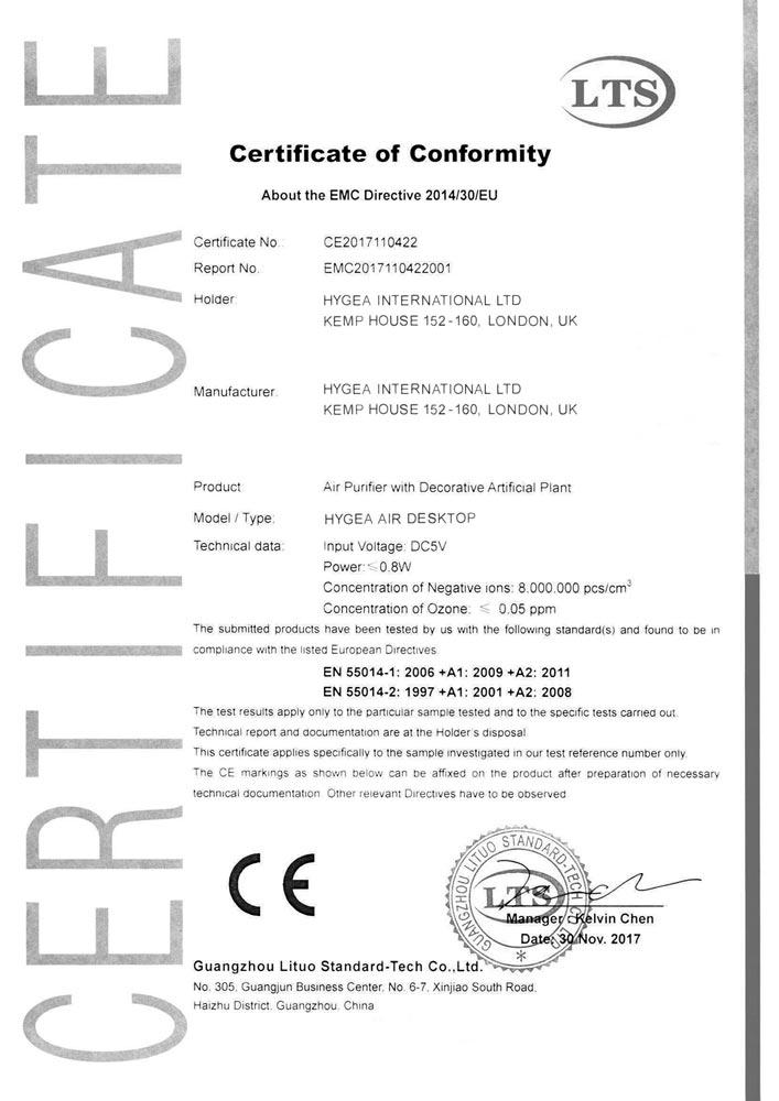 Hygea Air Desktop - CE certificate