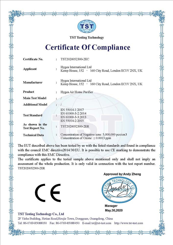Hygea Air Home CE - EMC certification