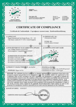 Hygea Air Pro Ce Certificate