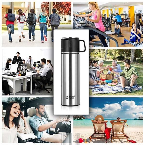 Термосът с чаша Hygea Water е малък, лек и компактен, за да е с теб навсякъде